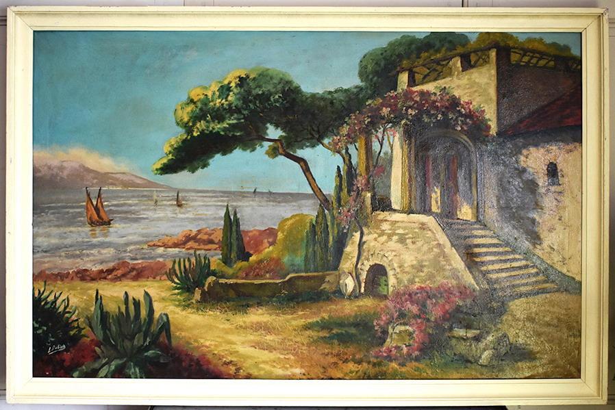 L Dubois Xix Xxeme Bord De Mer Grand Tableau Paysage Mediterraneen Tableaux Paysages