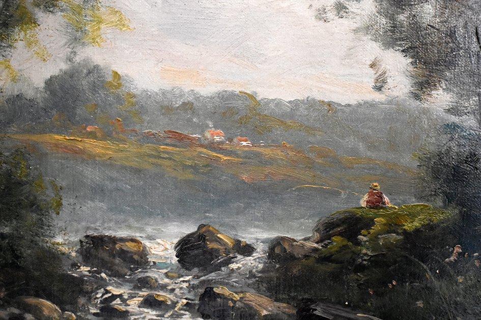 C. Lion ( XIXe ). Tableau Paysage Bord De Rivière. Huile Sur Toile Encadrée.-photo-1