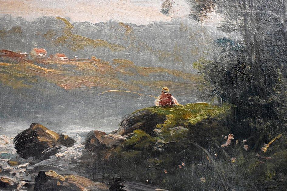 C. Lion ( XIXe ). Tableau Paysage Bord De Rivière. Huile Sur Toile Encadrée.-photo-2