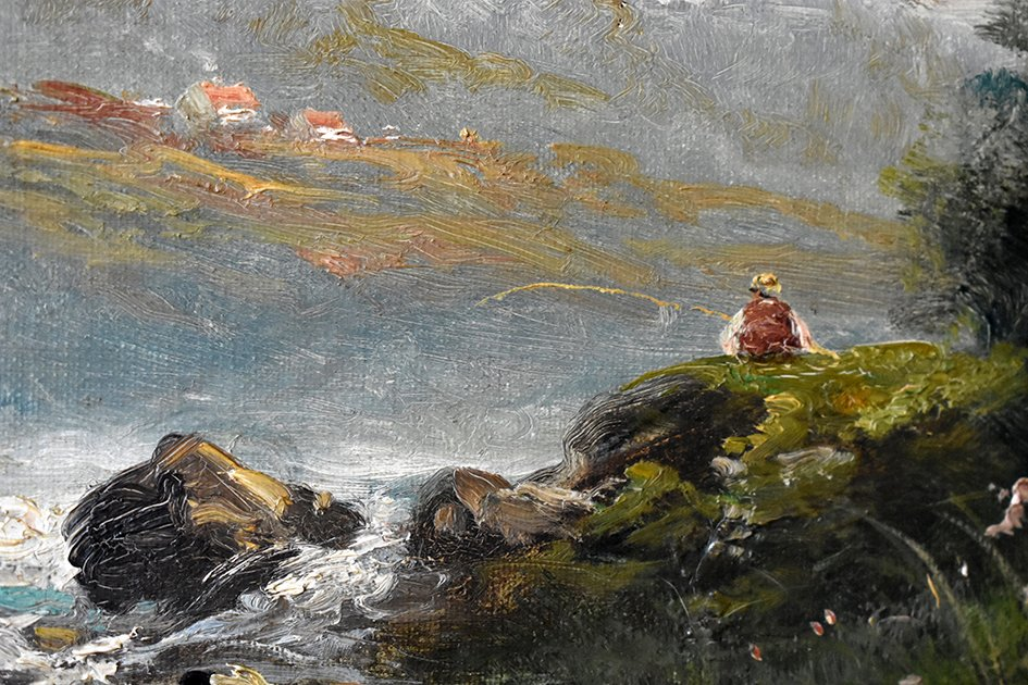C. Lion ( XIXe ). Tableau Paysage Bord De Rivière. Huile Sur Toile Encadrée.-photo-3