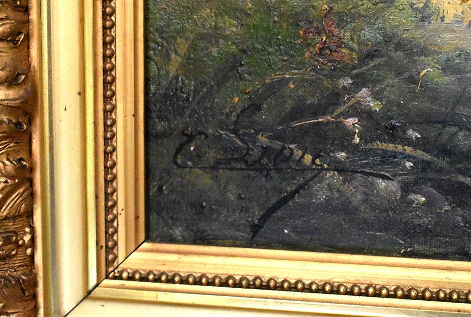 C. Lion ( XIXe ). Tableau Paysage Bord De Rivière. Huile Sur Toile Encadrée.-photo-6