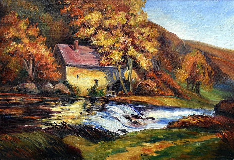 S. Clavaud - Robert, Huile Sur Toile , Paysage du Limousin, Moulin En Bord De Rivière.