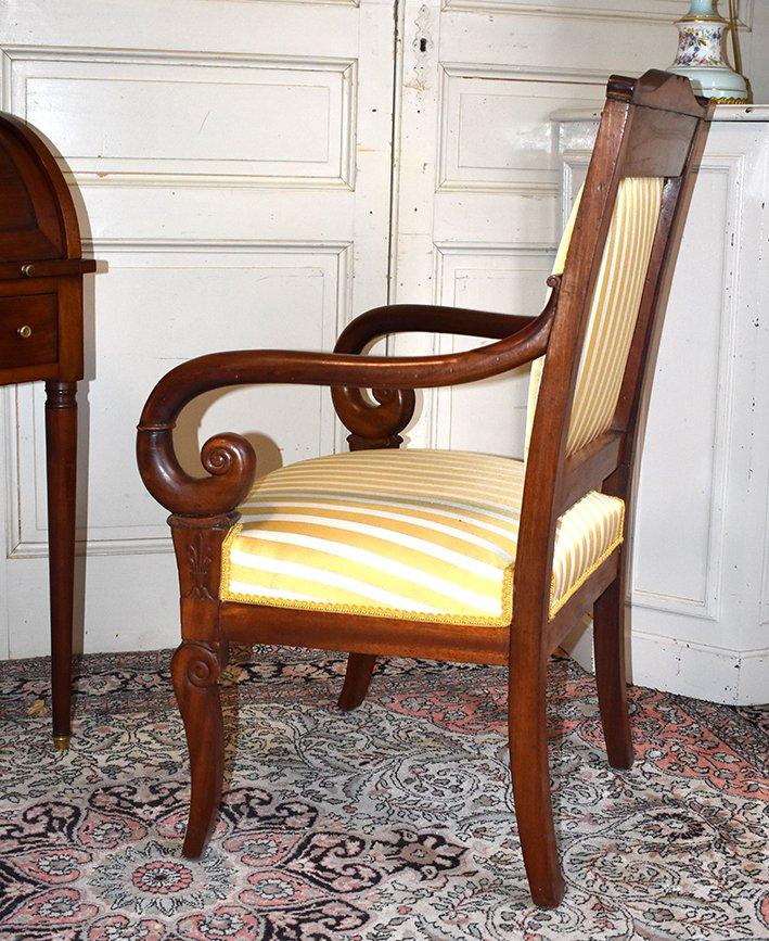 Fauteuil Acajou, Accotoirs En Crosse, époque Restauration , XIXème-photo-4