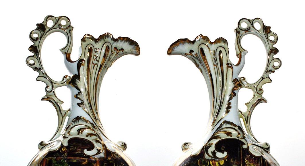 Paire d'Aiguières En Porcelaine De Limoges Décor Renaissance, Peint Entièrement à La Main.-photo-5