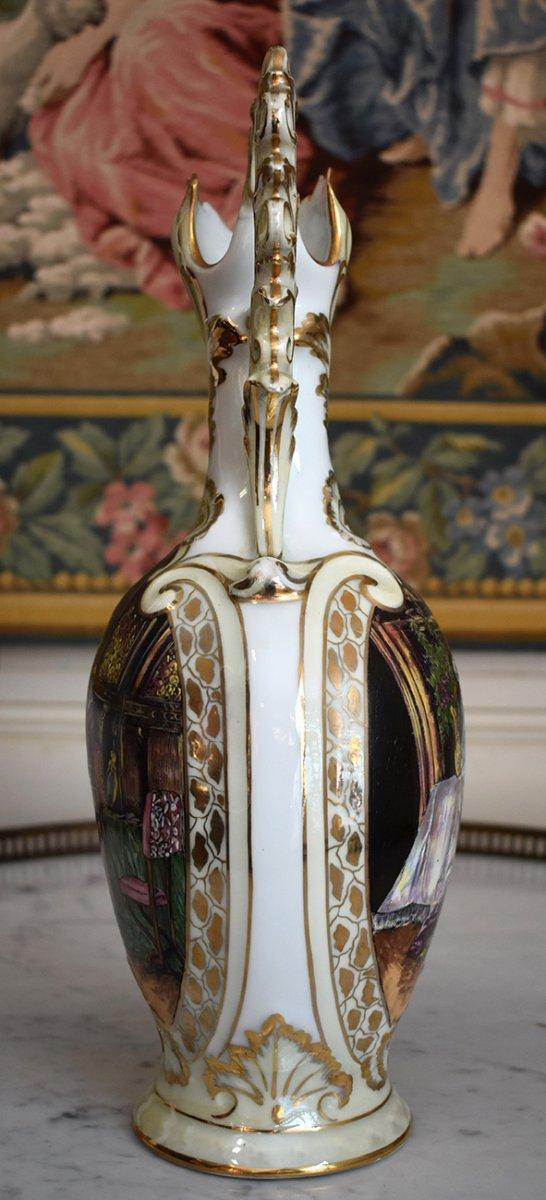 Paire d'Aiguières En Porcelaine De Limoges Décor Renaissance, Peint Entièrement à La Main.-photo-6