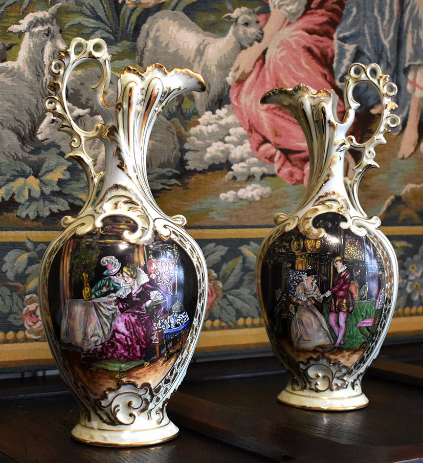 Pair Of Limoges Porcelain Ewers Renaissance Decor, Entirely Hand Painted.