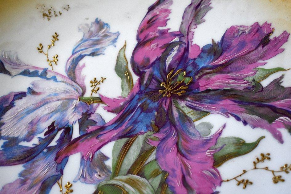 Paire De Grands Plats Décoratifs En Porcelaine De Limoges Décor Floral Peint Main , Fin XIX ème-photo-1