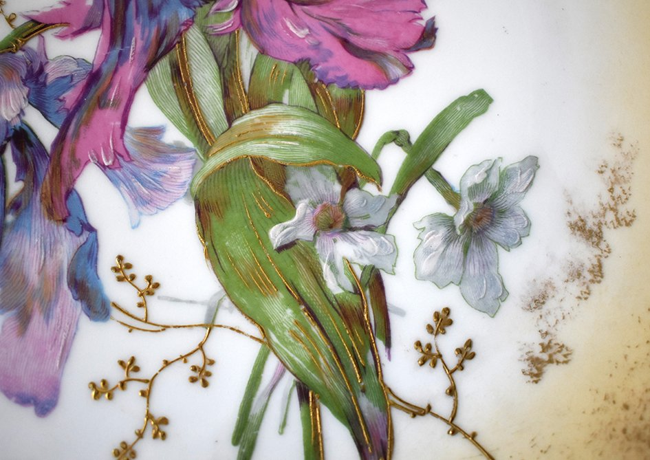 Paire De Grands Plats Décoratifs En Porcelaine De Limoges Décor Floral Peint Main , Fin XIX ème-photo-4