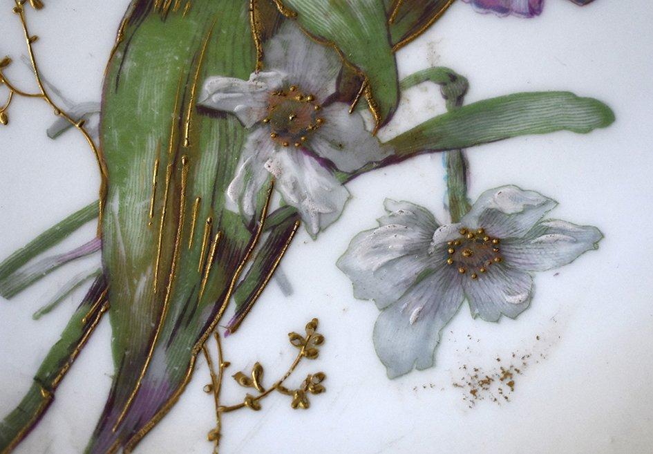 Paire De Grands Plats Décoratifs En Porcelaine De Limoges Décor Floral Peint Main , Fin XIX ème-photo-5