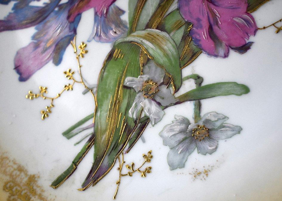 Paire De Grands Plats Décoratifs En Porcelaine De Limoges Décor Floral Peint Main , Fin XIX ème-photo-6