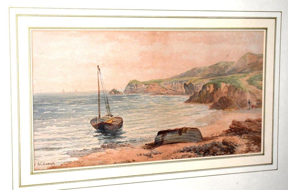 "Aquarelle signée A. Coleman. Marine intitulée : ""Robin Hood'sBay - on the York Shire Coast "".  XIXème."