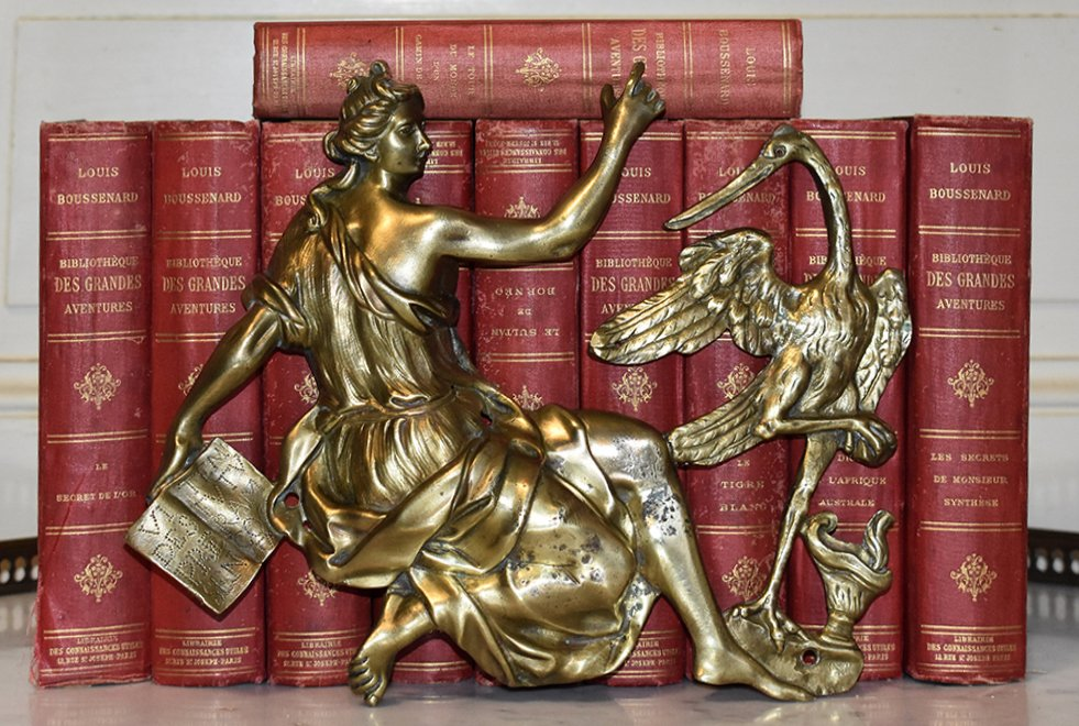 Decorative Wall Bronze, Decorative Element For Furniture, Ancient Woman And Wading Bird.