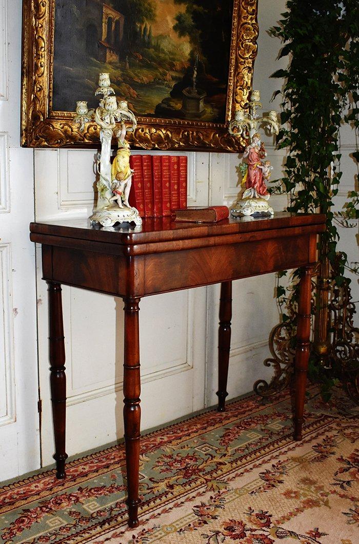 Table à Jeux En Acajou Pouvant Servir De Console. Epoque  Restauration, XIXème.-photo-3