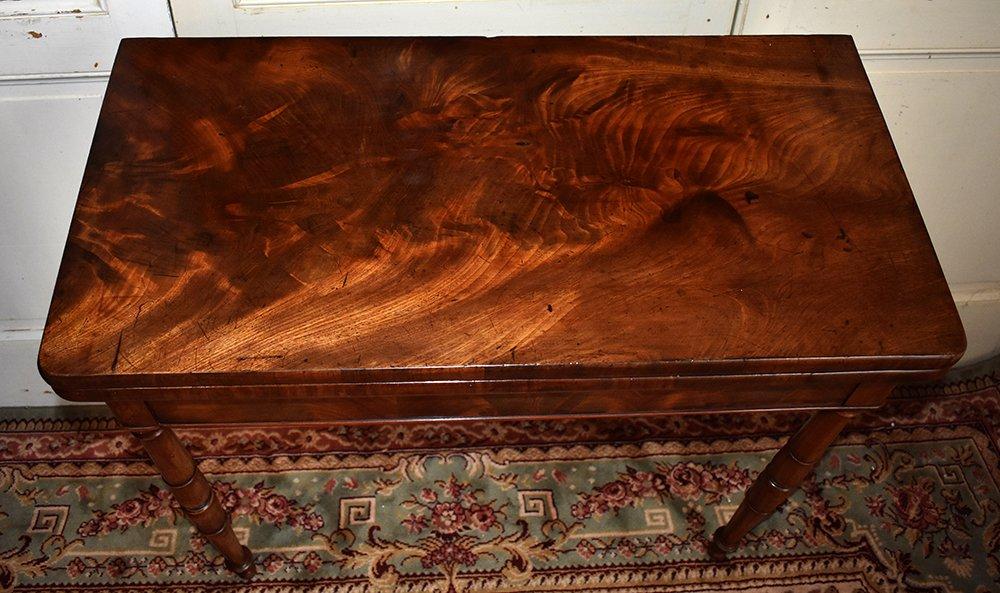 Table à Jeux En Acajou Pouvant Servir De Console. Epoque  Restauration, XIXème.-photo-1