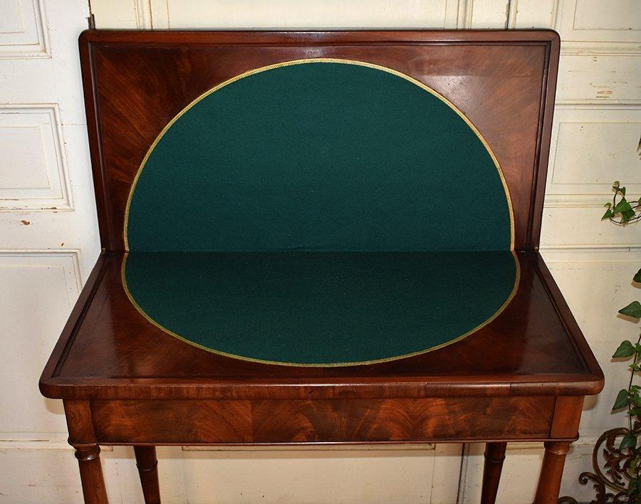 Table à Jeux En Acajou Pouvant Servir De Console. Epoque  Restauration, XIXème.-photo-2