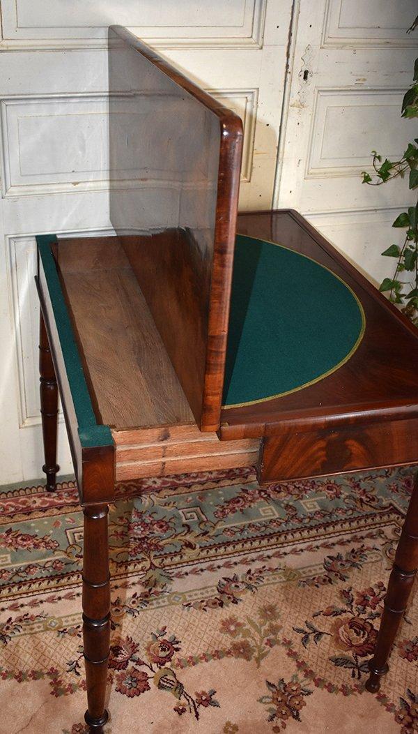 Table à Jeux En Acajou Pouvant Servir De Console. Epoque  Restauration, XIXème.-photo-4