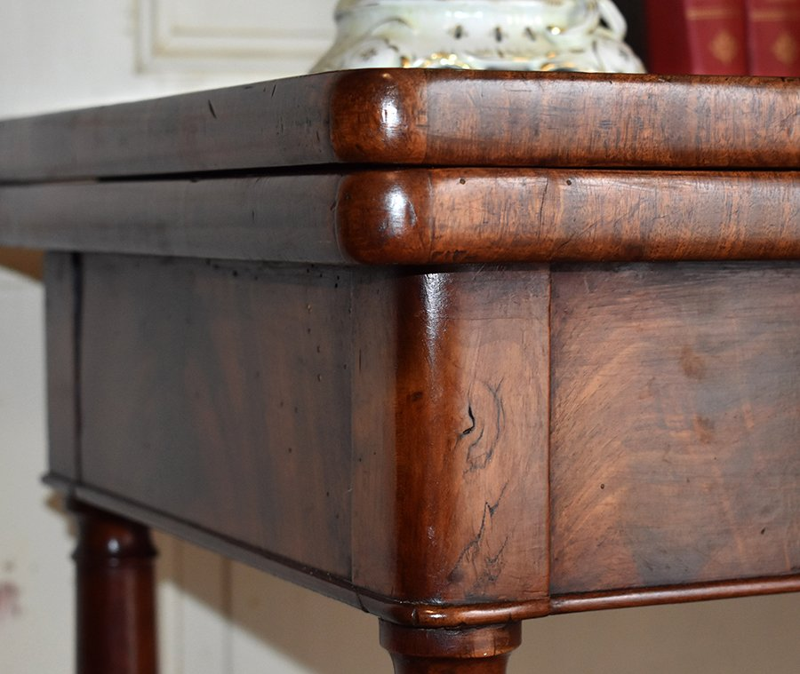 Table à Jeux En Acajou Pouvant Servir De Console. Epoque  Restauration, XIXème.-photo-7
