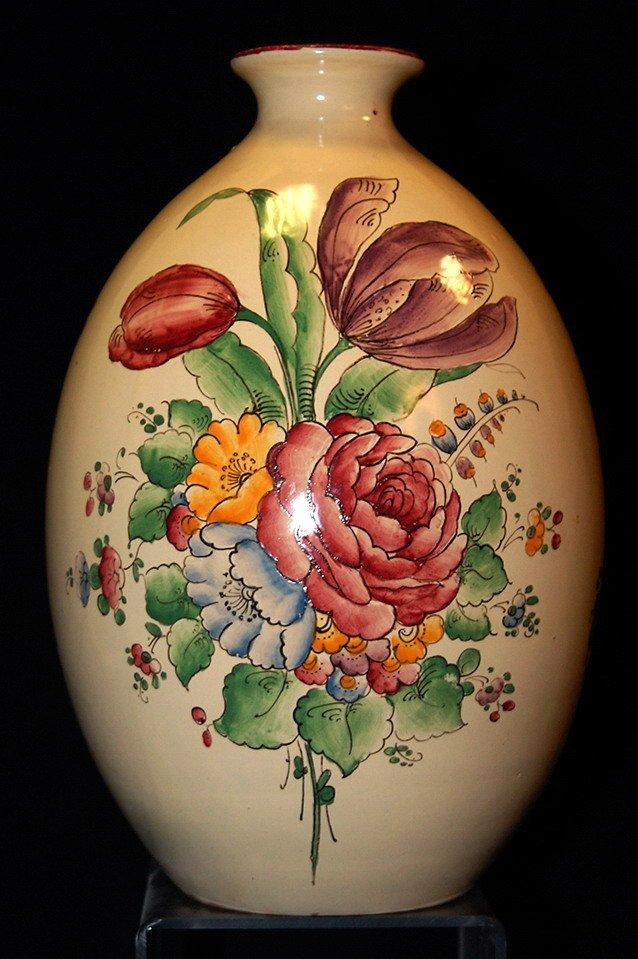 Alfred Renoleau Angoulème ( 1854-1930 ) . Vase En Faïence à Décor De Fleurs.