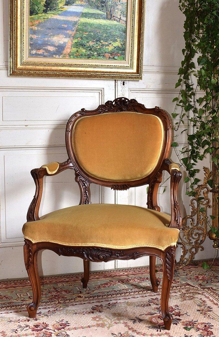 Rockery Armchair In Walnut, Louis XV Style Convertible Late Nineteenth.