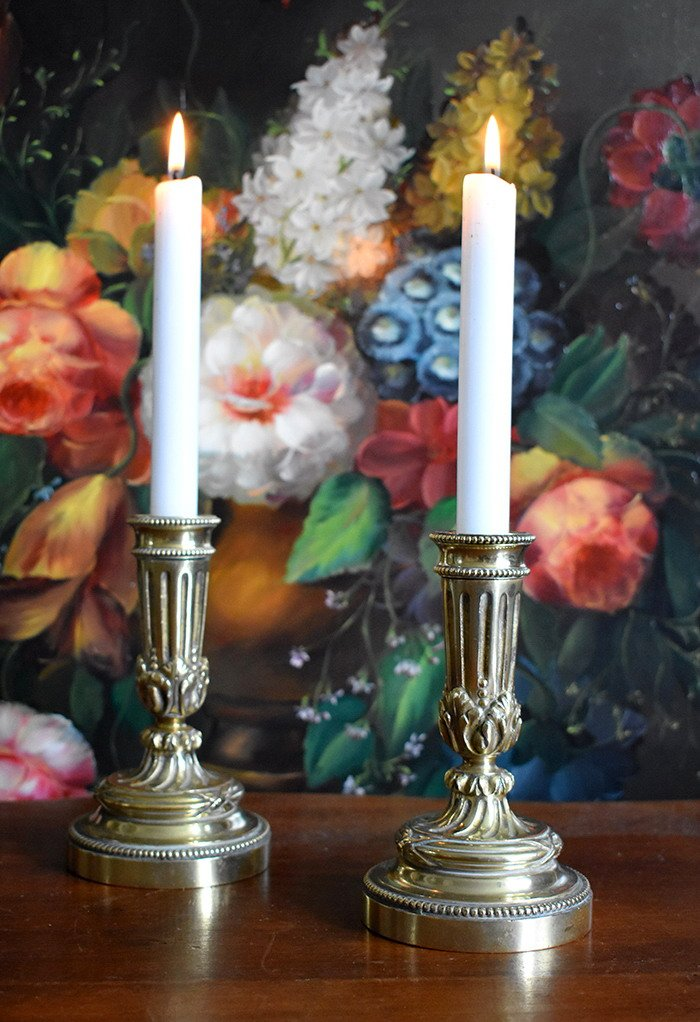 Pair Of Small Candlesticks In Bronze Louis XVI Style, Napoleon III Period.