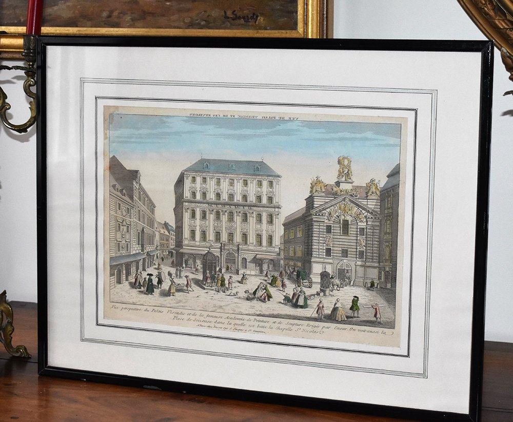 """Vue optique encadrée XVIIIème , gravure """" vue du palais Visendic """" d'après Basset (1759-1829)"""