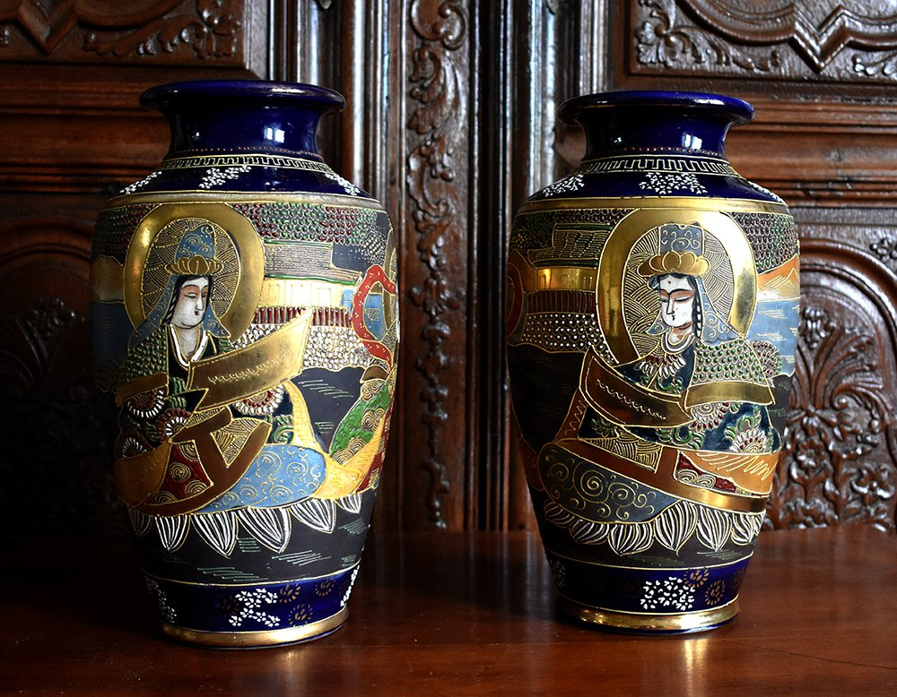 Pair Of Vases In Earthenware From Satsuma Characters On Blue Background, Japan, Late Nineteenth.