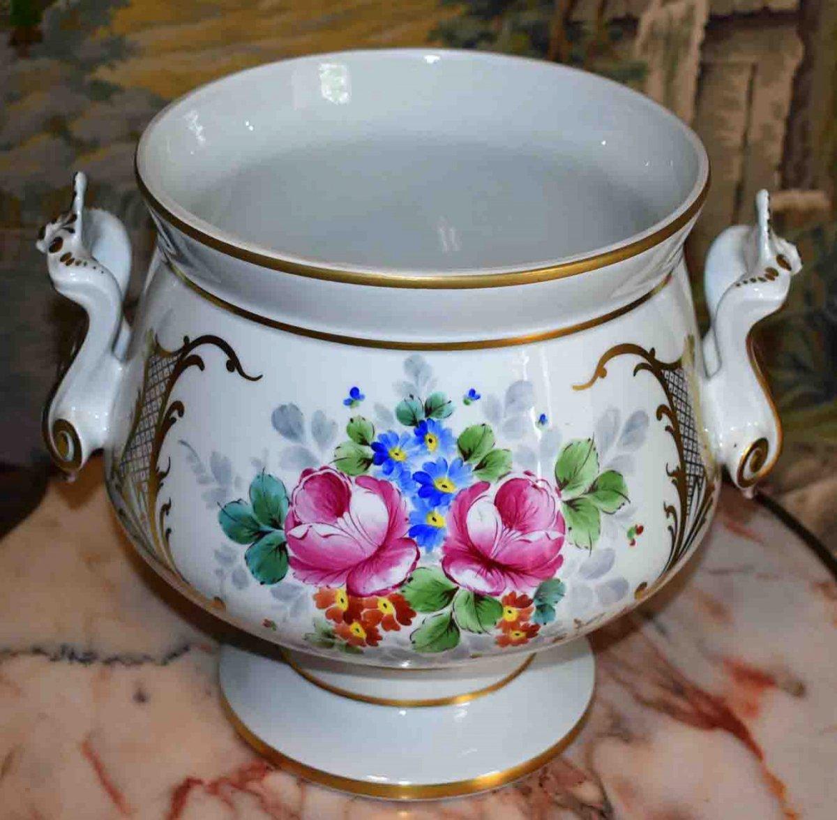 Grand Cache - Pot En Porcelaine De Limoges  à Décor Floral , important centre de table Peint Main Signé Caffy.-photo-3