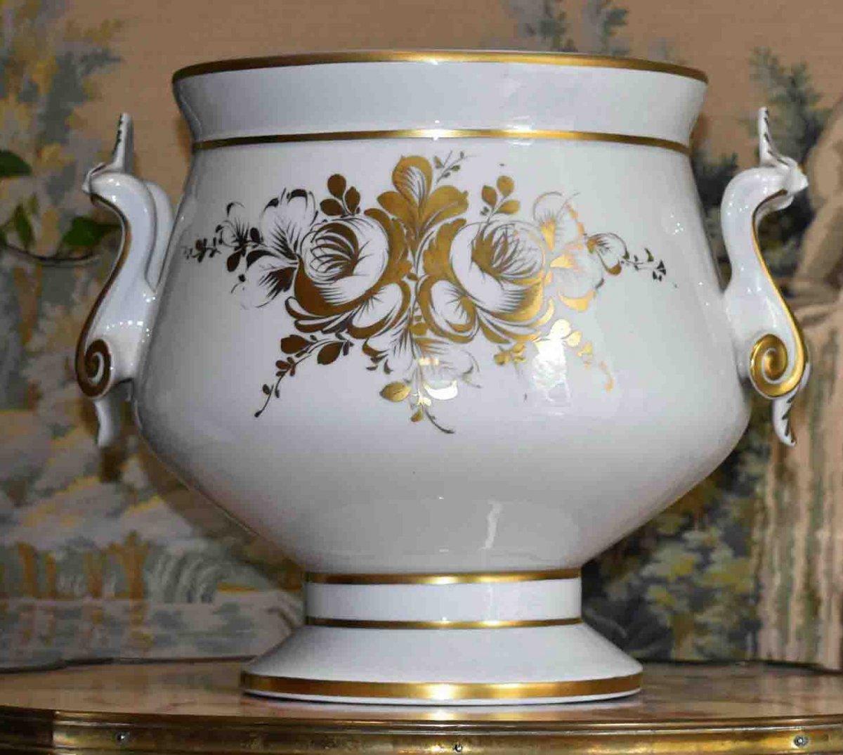Grand Cache - Pot En Porcelaine De Limoges  à Décor Floral , important centre de table Peint Main Signé Caffy.-photo-1