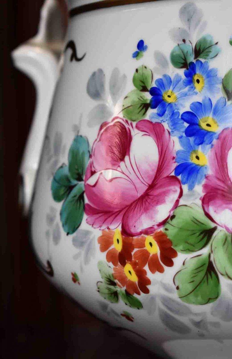 Grand Cache - Pot En Porcelaine De Limoges  à Décor Floral , important centre de table Peint Main Signé Caffy.-photo-4