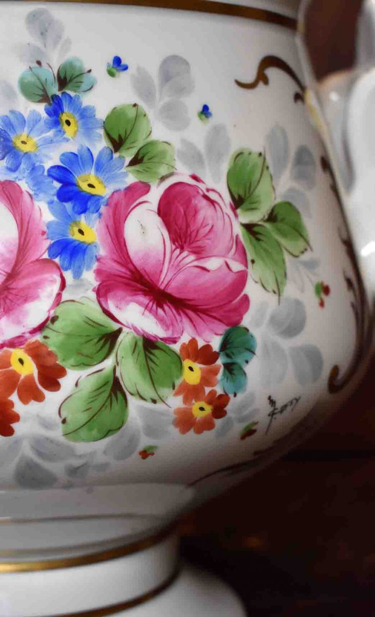 Grand Cache - Pot En Porcelaine De Limoges  à Décor Floral , important centre de table Peint Main Signé Caffy.-photo-5