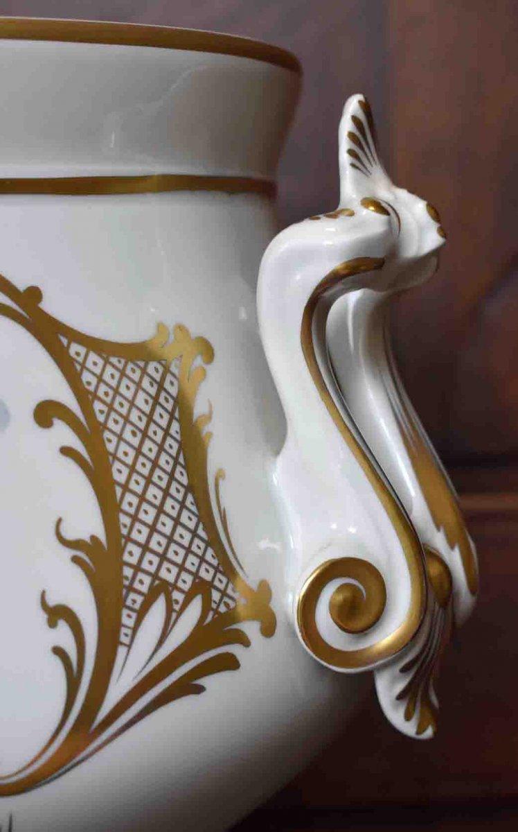 Grand Cache - Pot En Porcelaine De Limoges  à Décor Floral , important centre de table Peint Main Signé Caffy.-photo-6