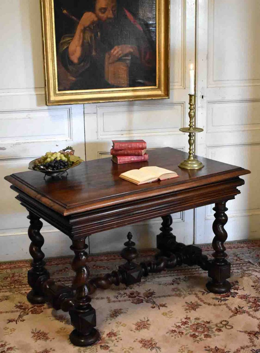Desk, Louis XIII Style Table In Walnut, Twisted Feet, XIXth.