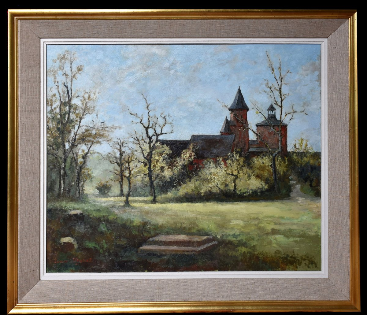 Oil On Canvas From Collonges La Rouge In Corrèze 19. Saint Peter's Church.