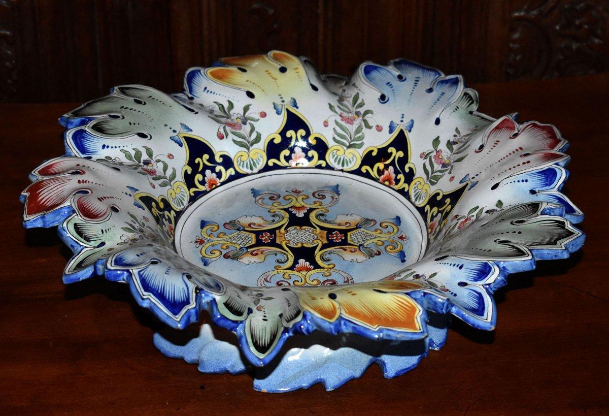 Large Cup, Polychrome Earthenware Table Center De Desvres Old Rouen Pattern.