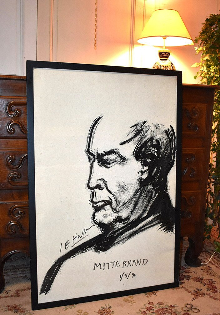 François Mitterrand By Jean Edern Hallier, Important Drawing In Ink, Dated And Signed 1994.