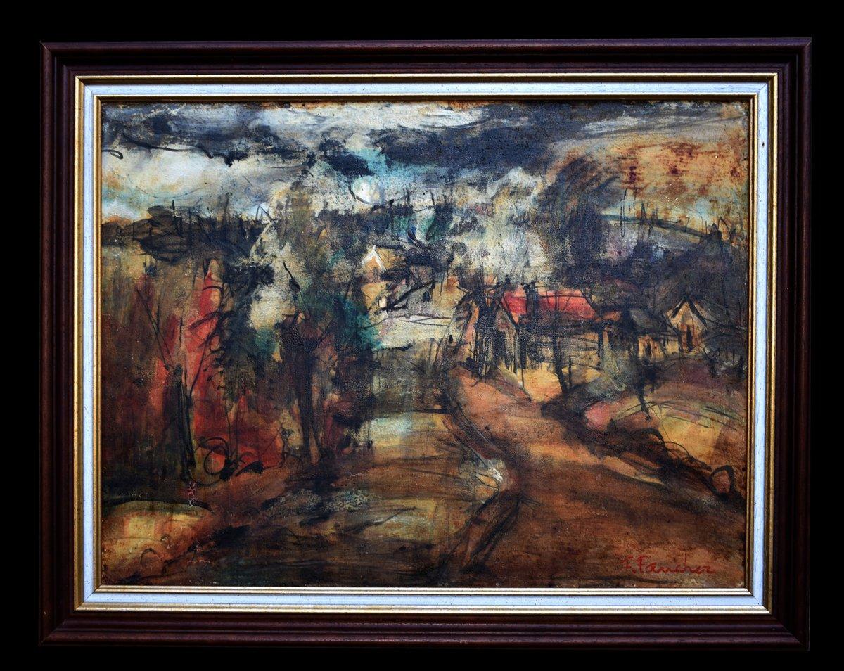 Limoges, François Faucher (1906-1985) View Of A Village, Limousin Painter.