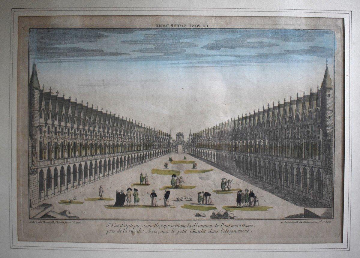 Vue Optique Encadrée, Gravure XVIIIème, Grabriel Huquier Fils (1730-1805); Pont Notre Dame, Le Petit Chatelet. vers 1760.-photo-4