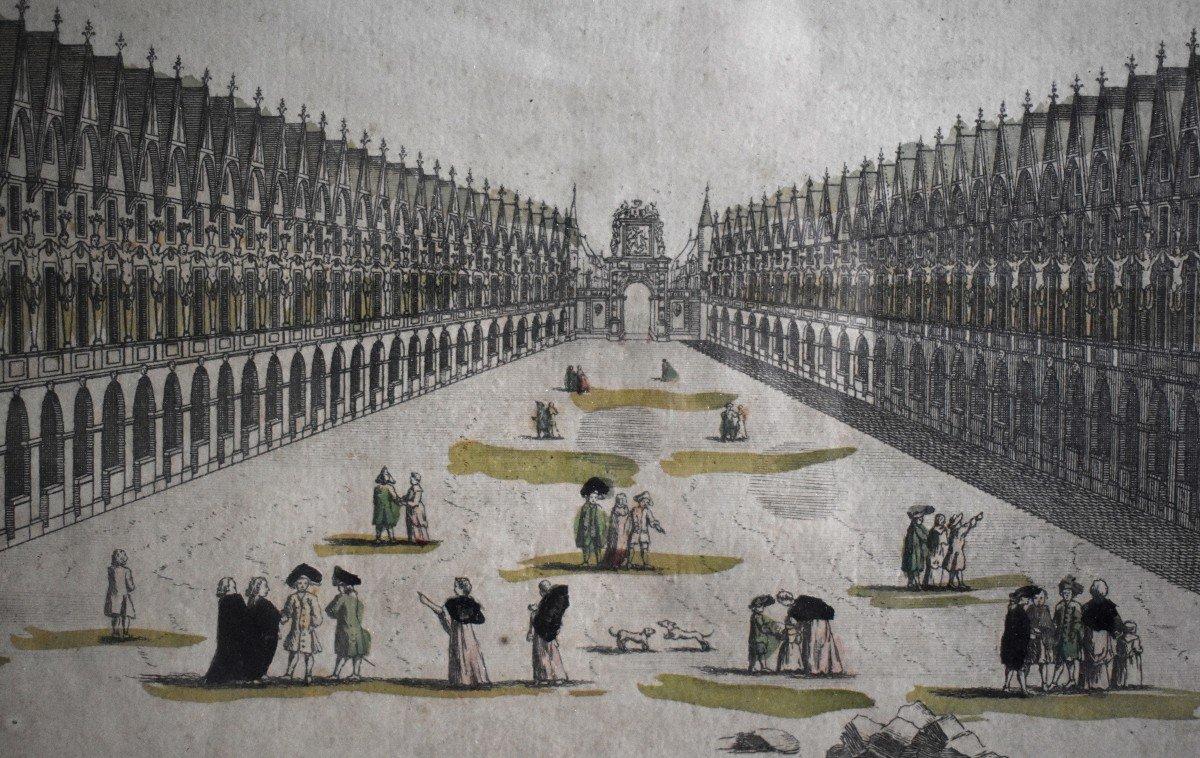 Vue Optique Encadrée, Gravure XVIIIème, Grabriel Huquier Fils (1730-1805); Pont Notre Dame, Le Petit Chatelet. vers 1760.-photo-1