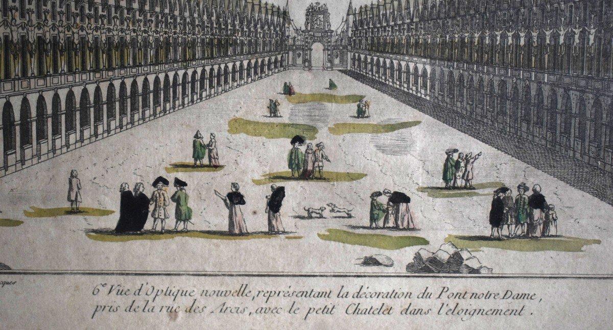 Vue Optique Encadrée, Gravure XVIIIème, Grabriel Huquier Fils (1730-1805); Pont Notre Dame, Le Petit Chatelet. vers 1760.-photo-2