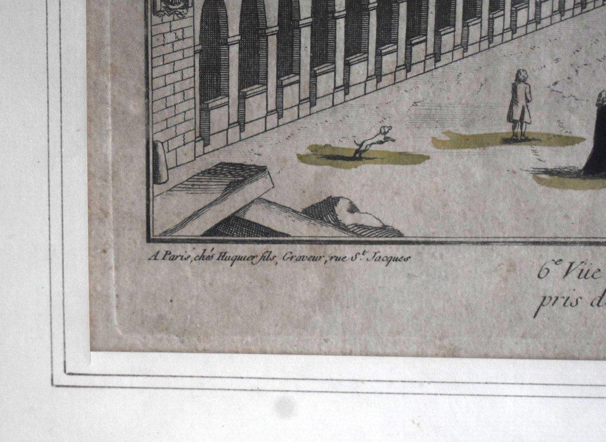 Vue Optique Encadrée, Gravure XVIIIème, Grabriel Huquier Fils (1730-1805); Pont Notre Dame, Le Petit Chatelet. vers 1760.-photo-3