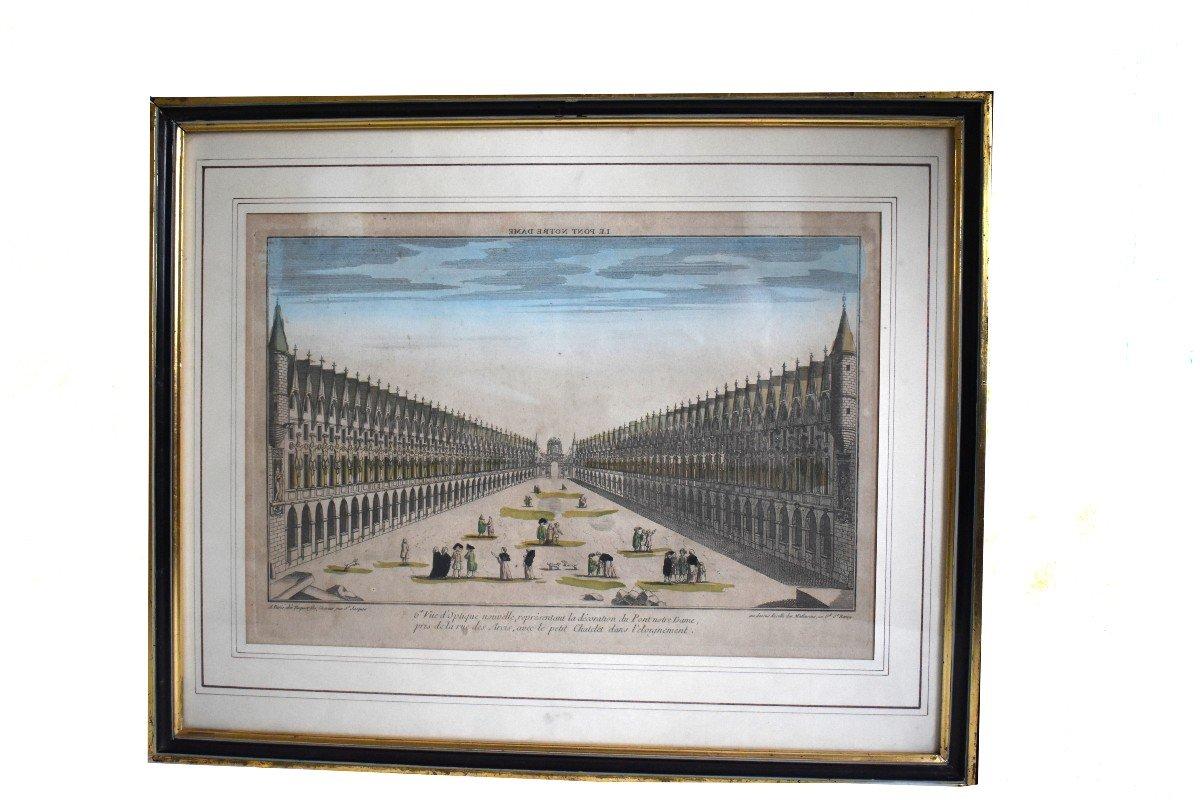 Vue Optique Encadrée, Gravure XVIIIème, Grabriel Huquier Fils (1730-1805); Pont Notre Dame, Le Petit Chatelet. vers 1760.