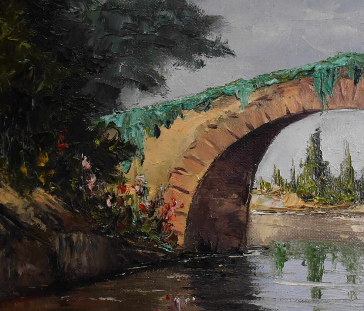 Framed Painting, Oil On Canvas, Bridge And River Landscape.-photo-1