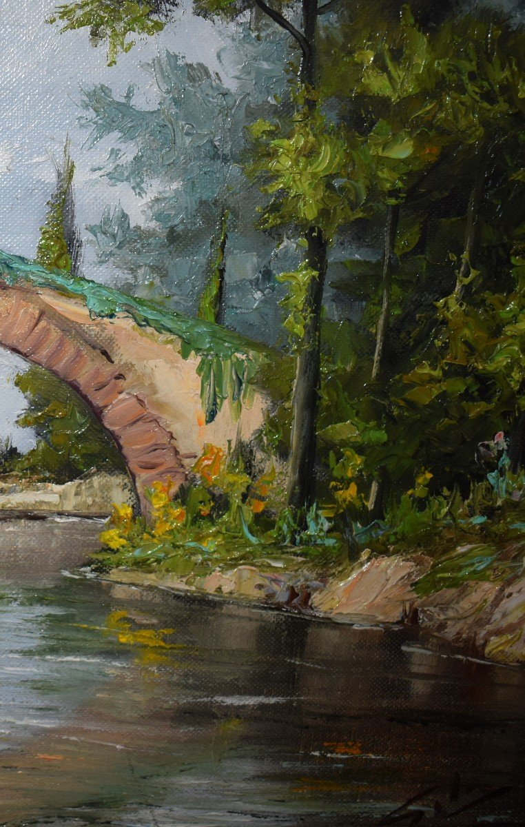 Framed Painting, Oil On Canvas, Bridge And River Landscape.-photo-2