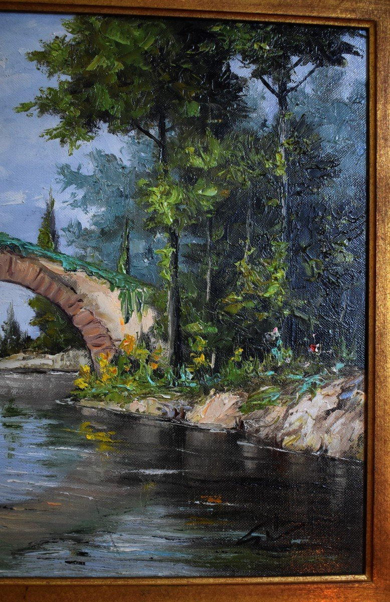 Framed Painting, Oil On Canvas, Bridge And River Landscape.-photo-4