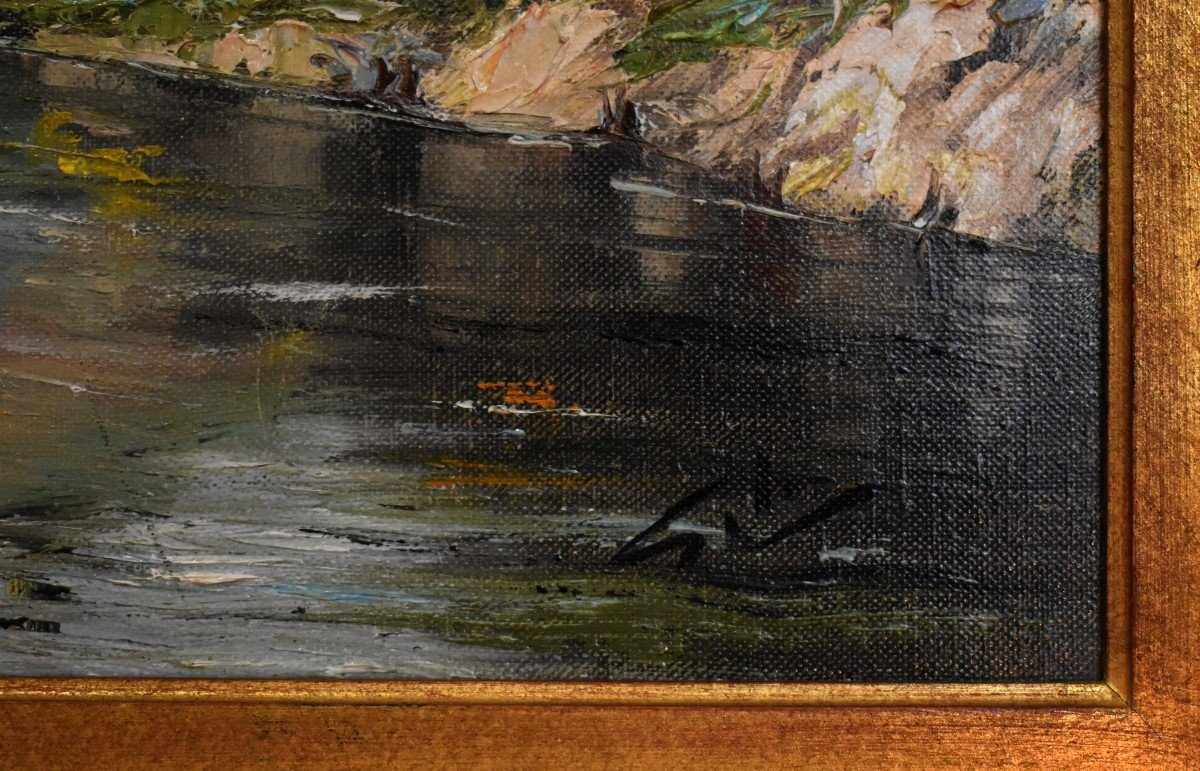 Framed Painting, Oil On Canvas, Bridge And River Landscape.-photo-6