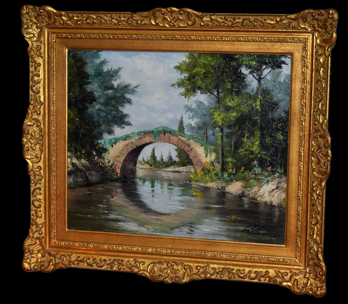Framed Painting, Oil On Canvas, Bridge And River Landscape.-photo-8