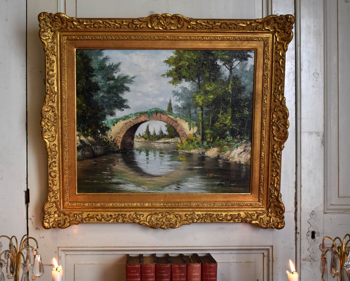 Framed Painting, Oil On Canvas, Bridge And River Landscape.