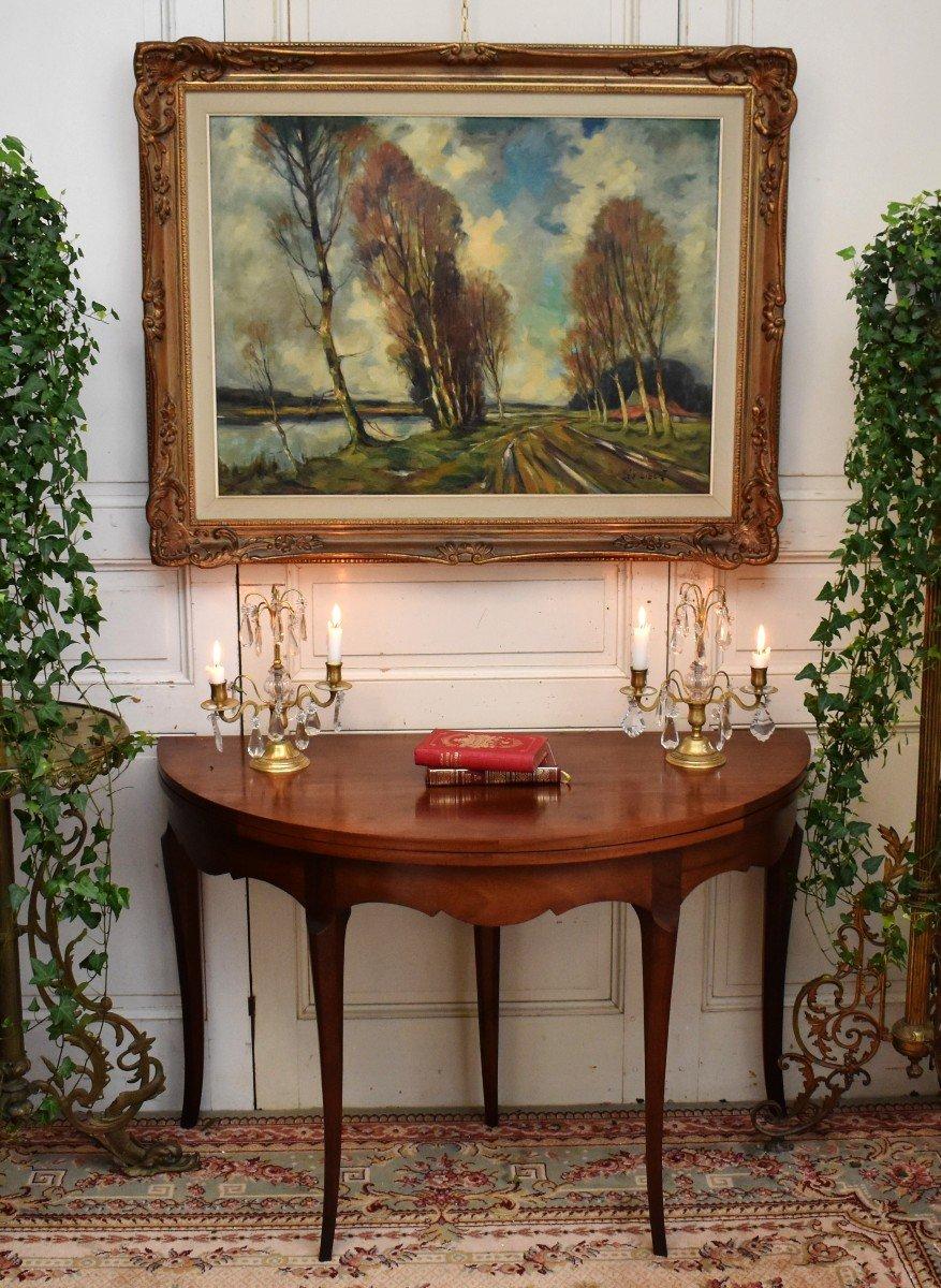 Table à Jeux Demi Lune De Style Louis XV  Formant Console.-photo-2