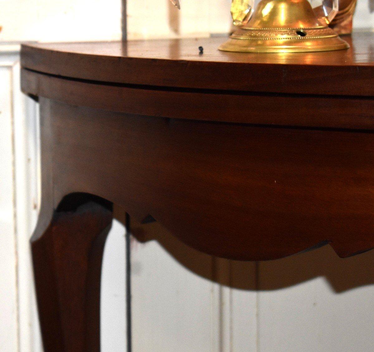 Table à Jeux Demi Lune De Style Louis XV  Formant Console.-photo-3