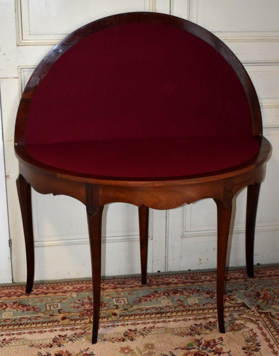 Table à Jeux Demi Lune De Style Louis XV  Formant Console.-photo-4
